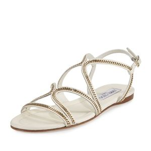 Jimmy Choo Chain Strappy Flat Sandal, White- NEW!